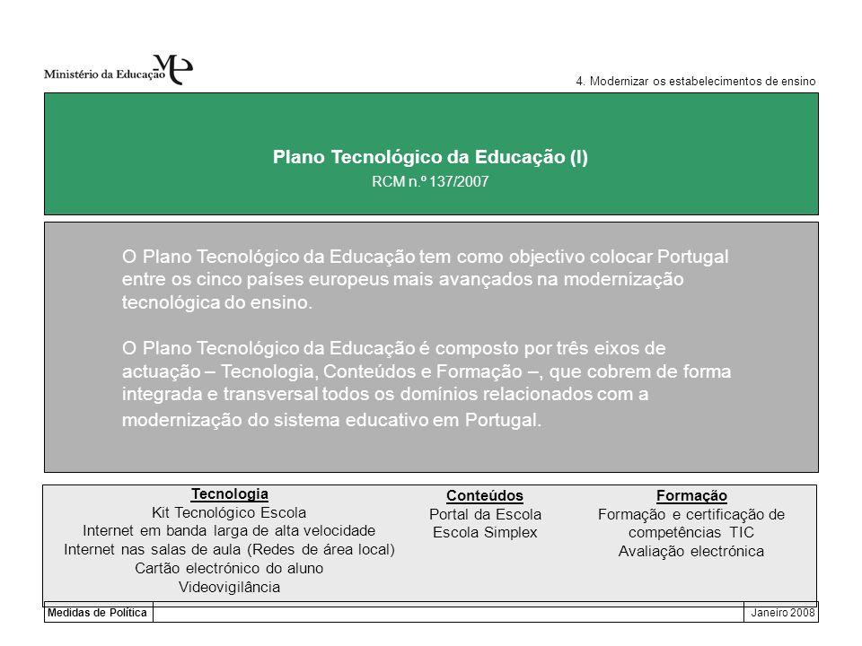 Medidas de PolíticaJaneiro 2008 Plano Tecnológico da Educação (I) O Plano Tecnológico da Educação tem como objectivo colocar Portugal entre os cinco p