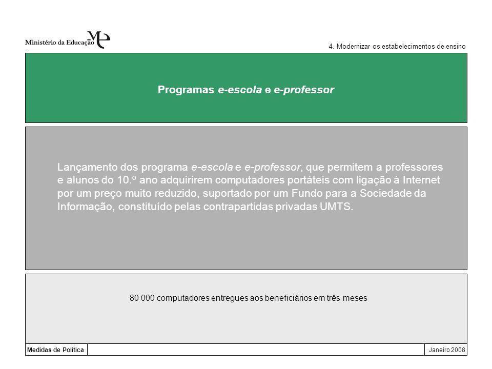 Medidas de PolíticaJaneiro 2008 Programas e-escola e e-professor Lançamento dos programa e-escola e e-professor, que permitem a professores e alunos d