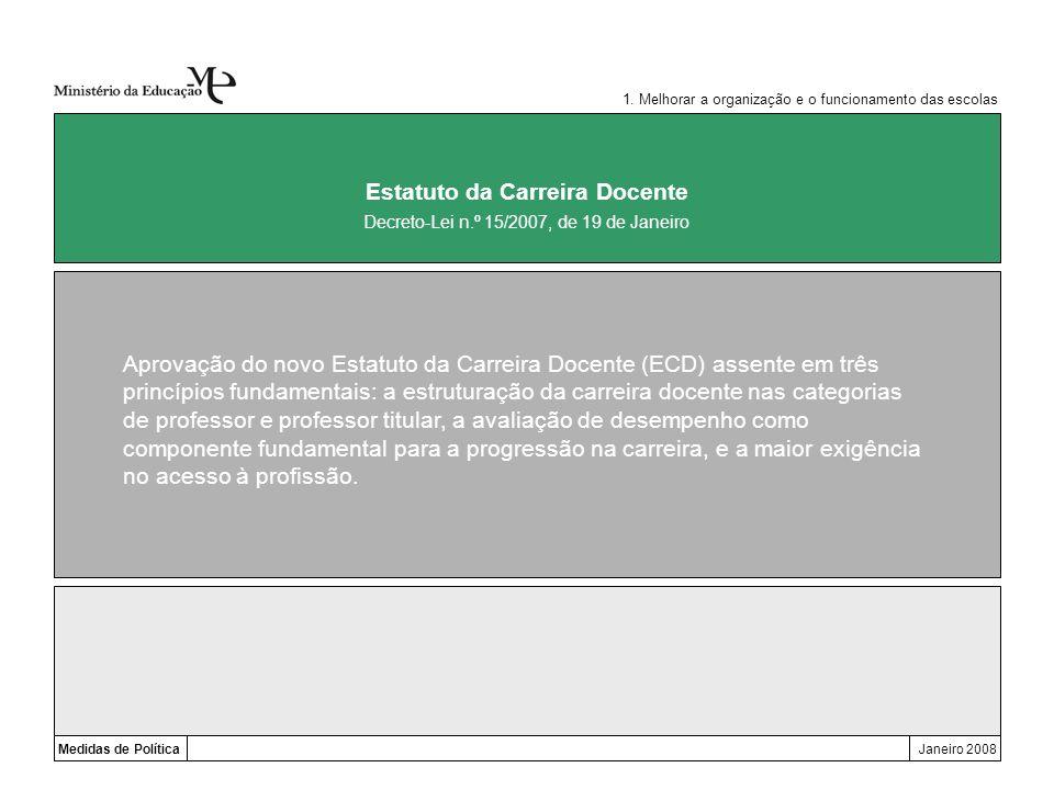 Medidas de PolíticaJaneiro 2008 Estatuto da Carreira Docente Aprovação do novo Estatuto da Carreira Docente (ECD) assente em três princípios fundament