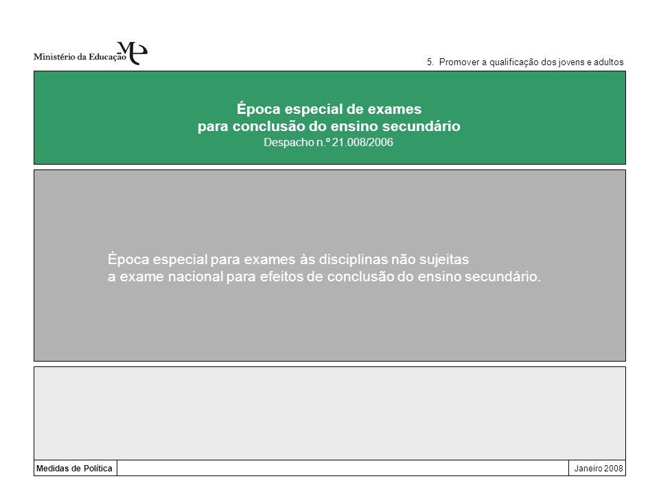 Medidas de PolíticaJaneiro 2008 Época especial de exames para conclusão do ensino secundário Época especial para exames às disciplinas não sujeitas a