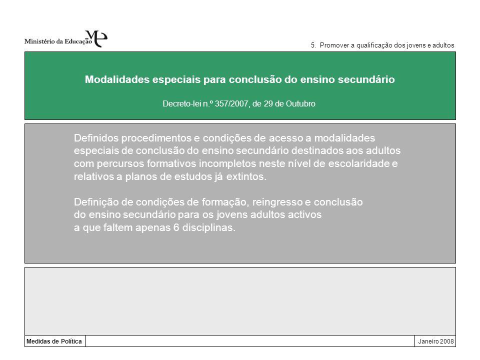 Medidas de PolíticaJaneiro 2008 Modalidades especiais para conclusão do ensino secundário Definidos procedimentos e condições de acesso a modalidades