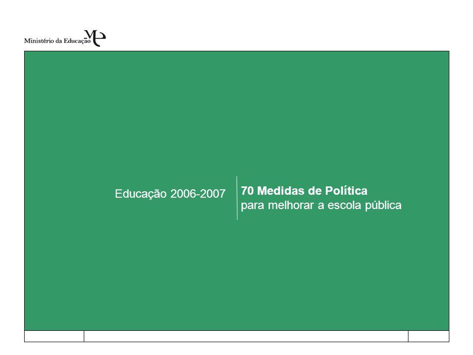 Educação 2006-2007 70 Medidas de Política para melhorar a escola pública