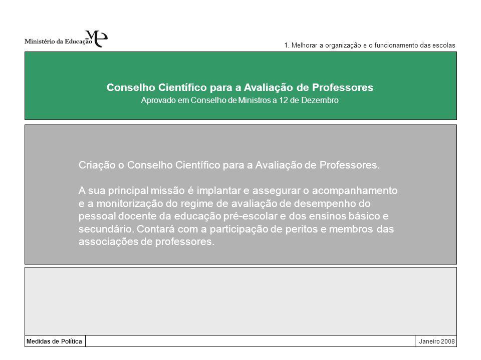 Medidas de PolíticaJaneiro 2008 Conselho Científico para a Avaliação de Professores Criação o Conselho Científico para a Avaliação de Professores. A s