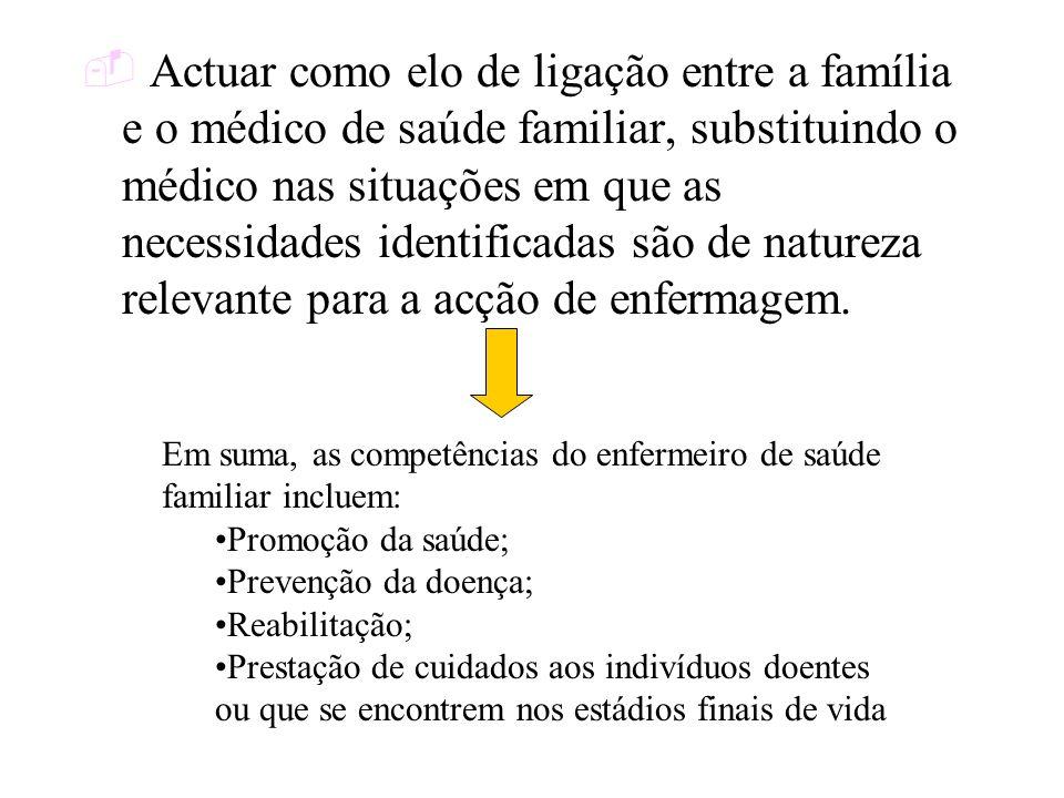 Actuar como elo de ligação entre a família e o médico de saúde familiar, substituindo o médico nas situações em que as necessidades identificadas são
