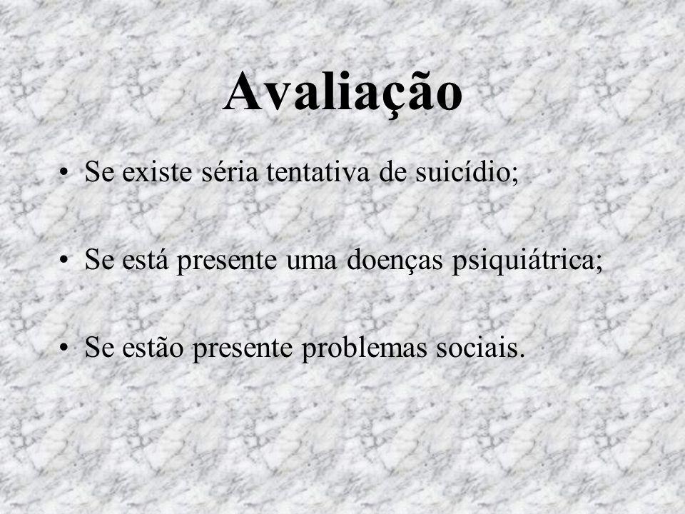 Avaliação Se existe séria tentativa de suicídio; Se está presente uma doenças psiquiátrica; Se estão presente problemas sociais.