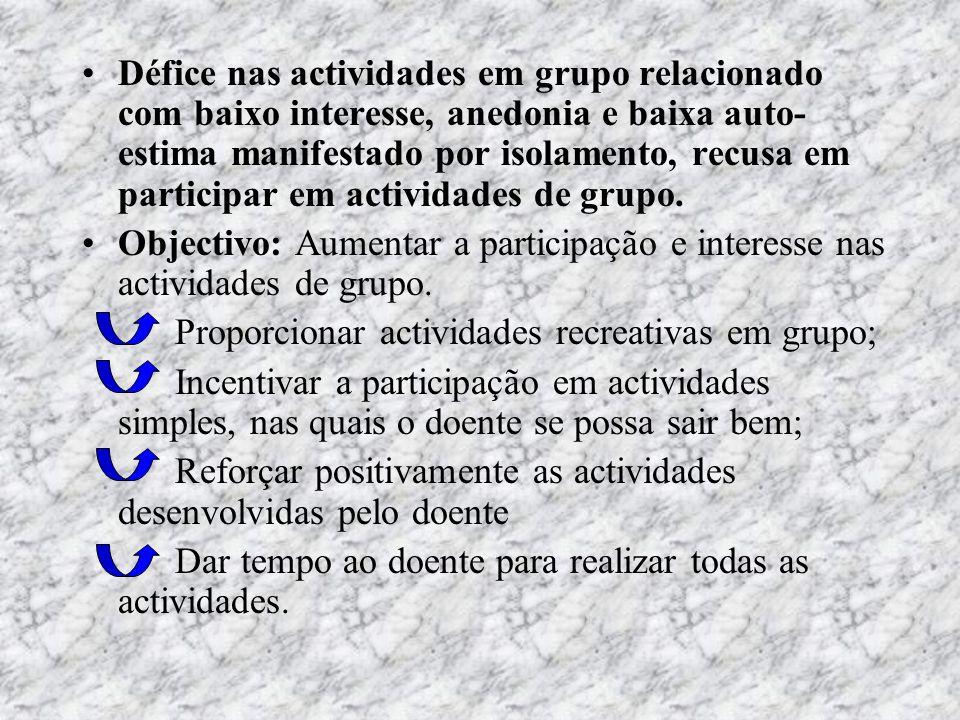 Défice nas actividades em grupo relacionado com baixo interesse, anedonia e baixa auto- estima manifestado por isolamento, recusa em participar em act