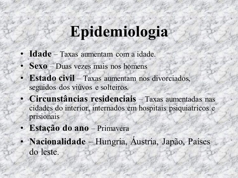 Causas Perturbação psiquiátrica; Circunstâncias stressantes; Afastamento social; Doença física; Pactos de suicídio.