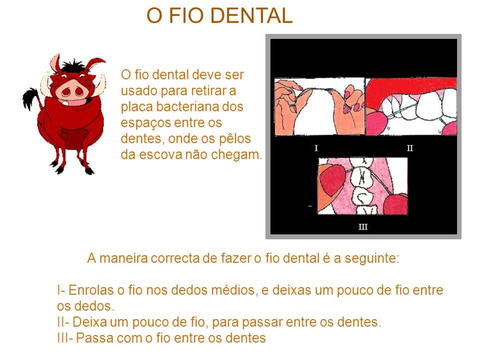 O FIO DENTAL III III O fio dental deve ser usado para retirar a placa bacteriana dos espaços entre os dentes, onde os pêlos da escova não chegam. A ma