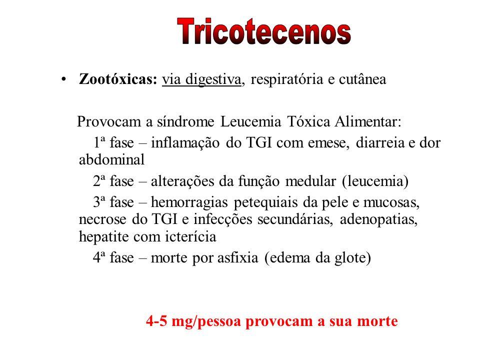 Zootóxicas: via digestiva, respiratória e cutânea Provocam a síndrome Leucemia Tóxica Alimentar: 1ª fase – inflamação do TGI com emese, diarreia e dor