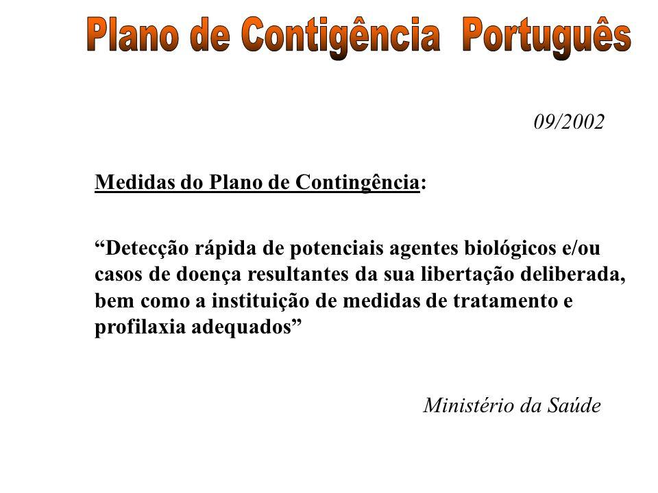 09/2002 Medidas do Plano de Contingência: Detecção rápida de potenciais agentes biológicos e/ou casos de doença resultantes da sua libertação delibera