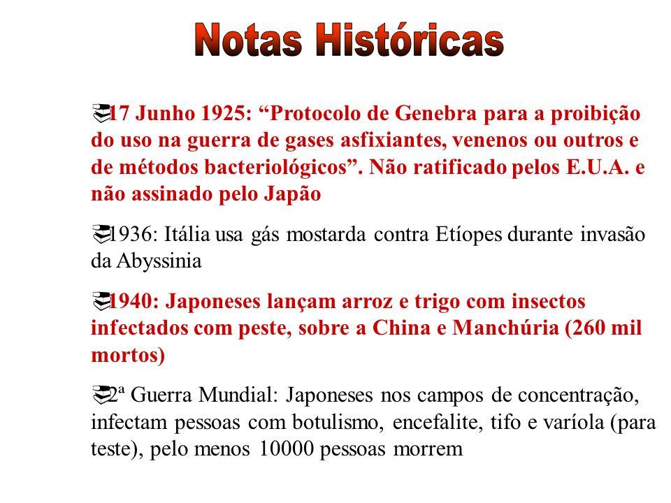17 Junho 1925: Protocolo de Genebra para a proibição do uso na guerra de gases asfixiantes, venenos ou outros e de métodos bacteriológicos. Não ratifi