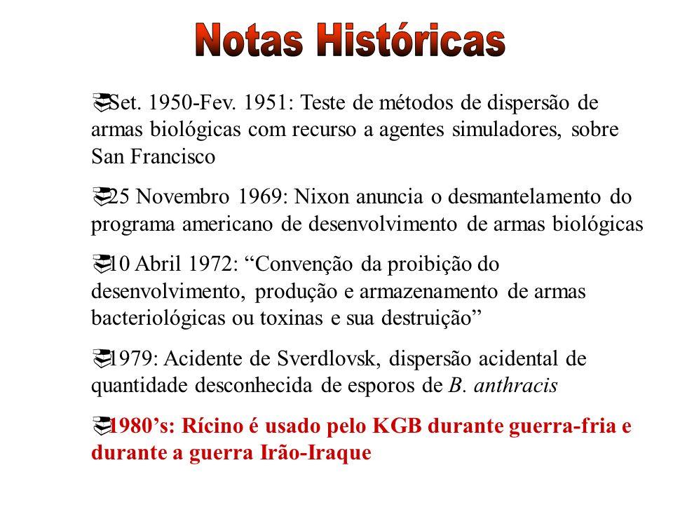 Set. 1950-Fev. 1951: Teste de métodos de dispersão de armas biológicas com recurso a agentes simuladores, sobre San Francisco 25 Novembro 1969: Nixon