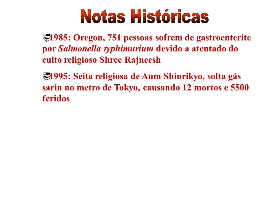 1985: Oregon, 751 pessoas sofrem de gastroenterite por Salmonella typhimurium devido a atentado do culto religioso Shree Rajneesh 1995: Seita religios