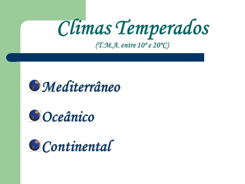 Climas Temperados (T.M.A. entre 10º e 20ºC) Mediterrâneo Oceânico Continental