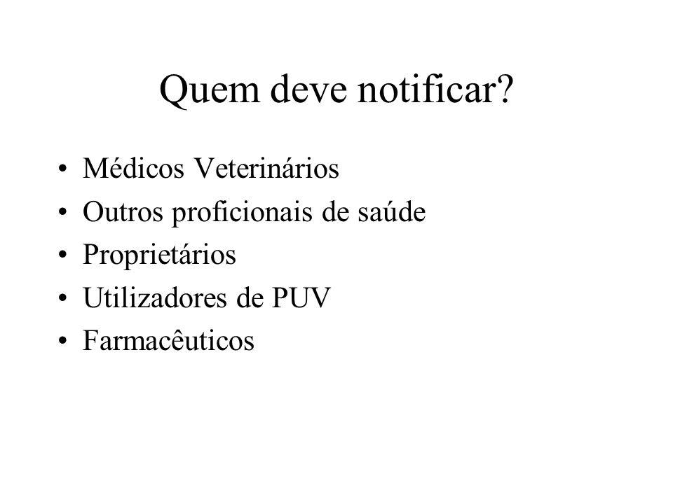 Quem deve notificar? Médicos Veterinários Outros proficionais de saúde Proprietários Utilizadores de PUV Farmacêuticos