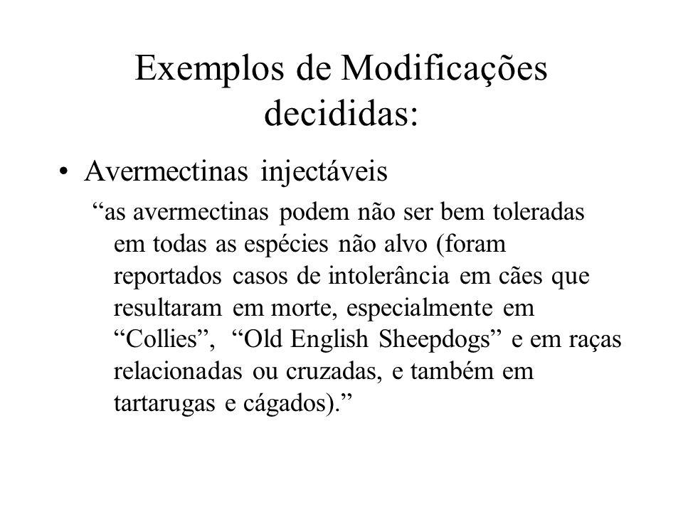 Exemplos de Modificações decididas: Avermectinas injectáveis as avermectinas podem não ser bem toleradas em todas as espécies não alvo (foram reportad
