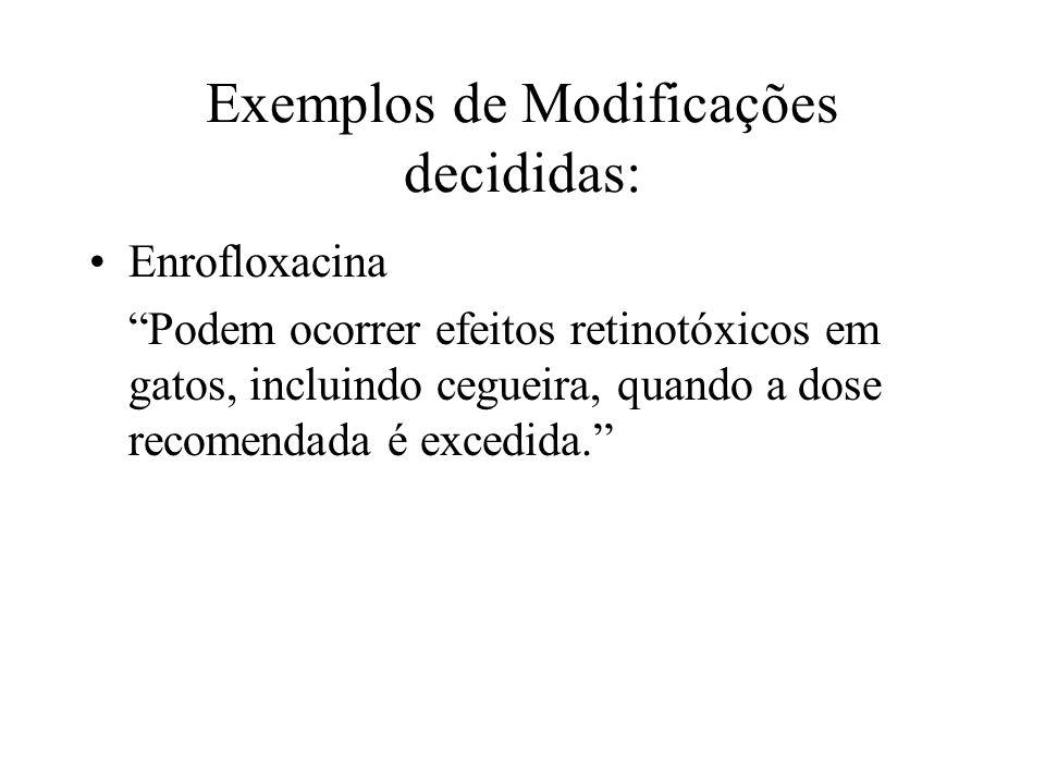 Exemplos de Modificações decididas: Enrofloxacina Podem ocorrer efeitos retinotóxicos em gatos, incluindo cegueira, quando a dose recomendada é excedi