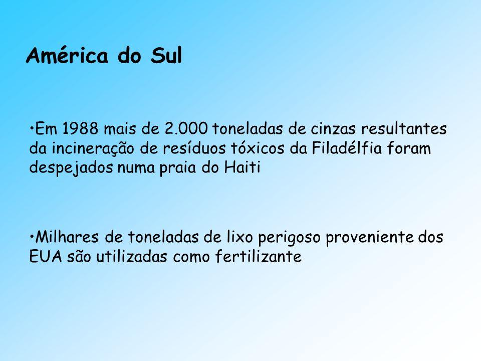 América do Sul Em 1988 mais de 2.000 toneladas de cinzas resultantes da incineração de resíduos tóxicos da Filadélfia foram despejados numa praia do H
