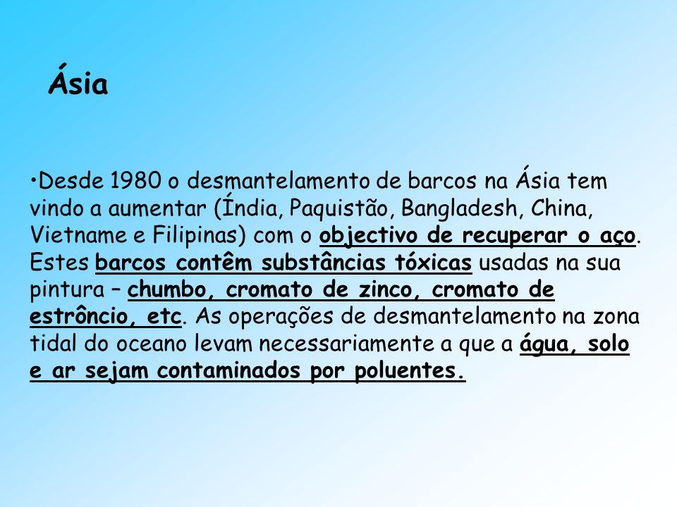 Ásia Desde 1980 o desmantelamento de barcos na Ásia tem vindo a aumentar (Índia, Paquistão, Bangladesh, China, Vietname e Filipinas) com o objectivo d