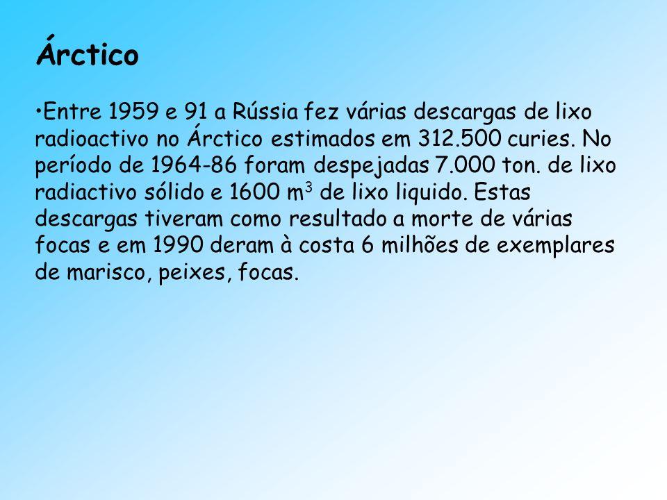 Árctico Entre 1959 e 91 a Rússia fez várias descargas de lixo radioactivo no Árctico estimados em 312.500 curies. No período de 1964-86 foram despejad