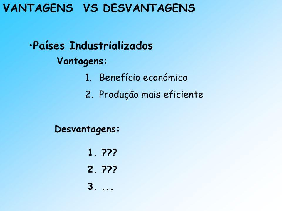 VANTAGENS VS DESVANTAGENS Países Industrializados Vantagens: 1.Benefício económico 2.Produção mais eficiente Desvantagens: 1.??? 2.??? 3....