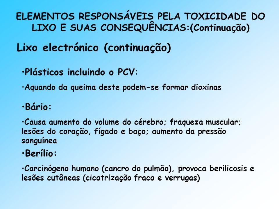 ELEMENTOS RESPONSÁVEIS PELA TOXICIDADE DO LIXO E SUAS CONSEQUÊNCIAS:(Continuação) Lixo electrónico (continuação) Plásticos incluindo o PCV: Aquando da