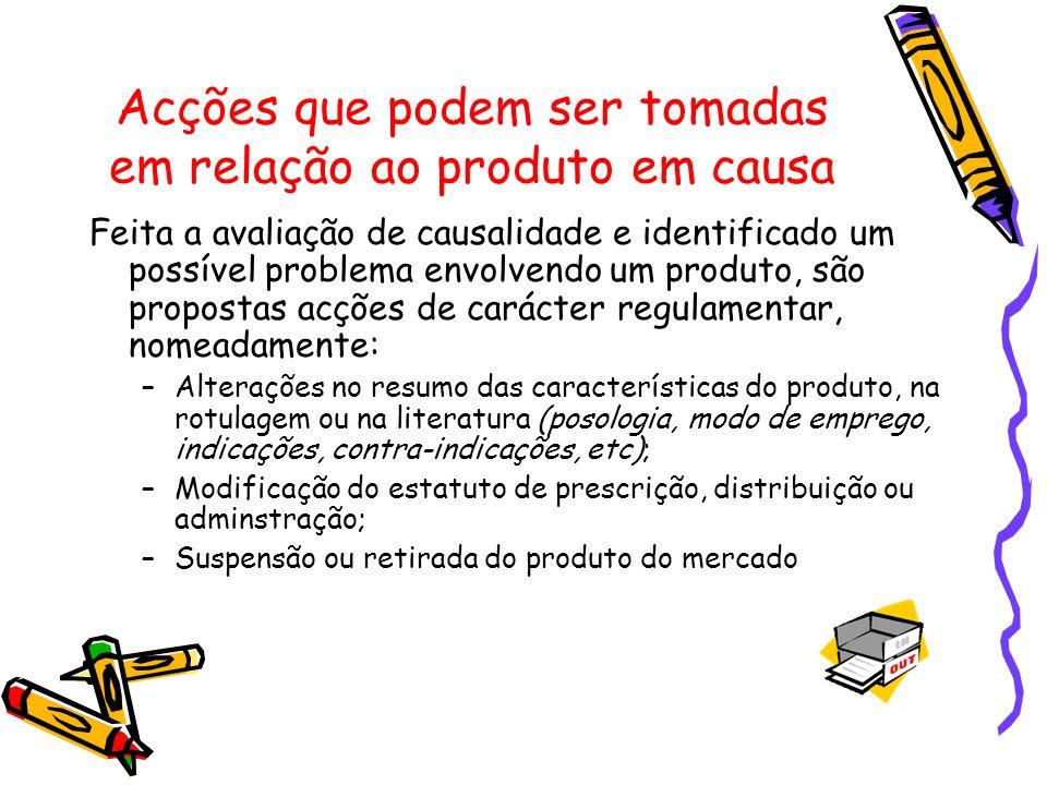 Acções que podem ser tomadas em relação ao produto em causa Feita a avaliação de causalidade e identificado um possível problema envolvendo um produto