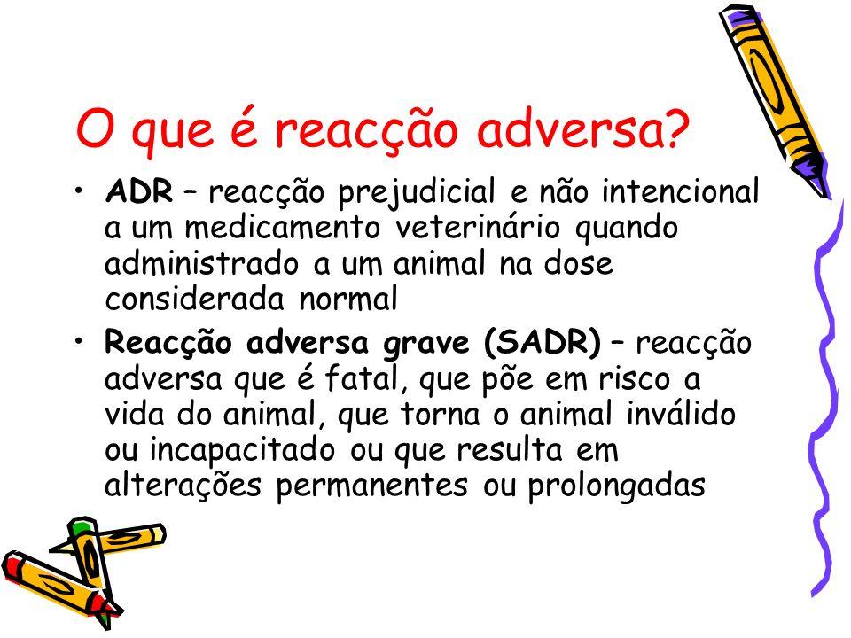 O que é reacção adversa? ADR – reacção prejudicial e não intencional a um medicamento veterinário quando administrado a um animal na dose considerada