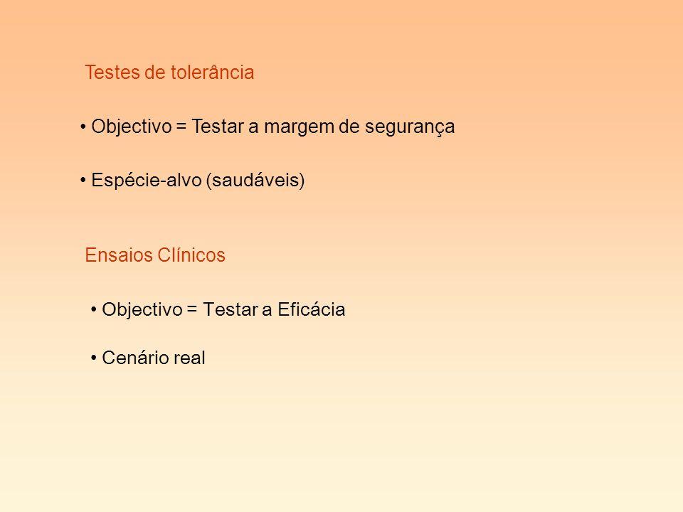 Testes de tolerância Objectivo = Testar a margem de segurança Espécie-alvo (saudáveis) Ensaios Clínicos Cenário real Objectivo = Testar a Eficácia