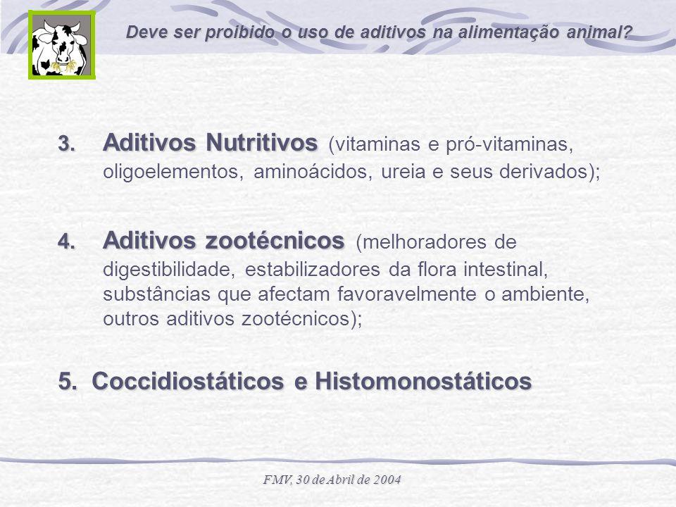 Deve ser proibido o uso de aditivos na alimentação animal? FMV, 30 de Abril de 2004 3. Aditivos Nutritivos 3. Aditivos Nutritivos (vitaminas e pró-vit