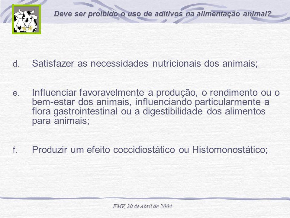 Deve ser proibido o uso de aditivos na alimentação animal? FMV, 30 de Abril de 2004 d. Satisfazer as necessidades nutricionais dos animais; e. Influen