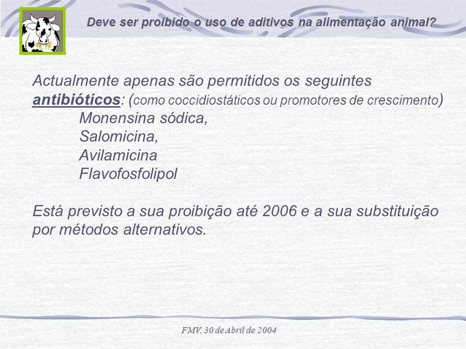 Deve ser proibido o uso de aditivos na alimentação animal? FMV, 30 de Abril de 2004 Actualmente apenas são permitidos os seguintes antibióticos: ( com