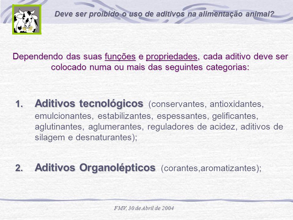 Deve ser proibido o uso de aditivos na alimentação animal? FMV, 30 de Abril de 2004 Dependendo das suas funções e propriedades, cada aditivo deve ser