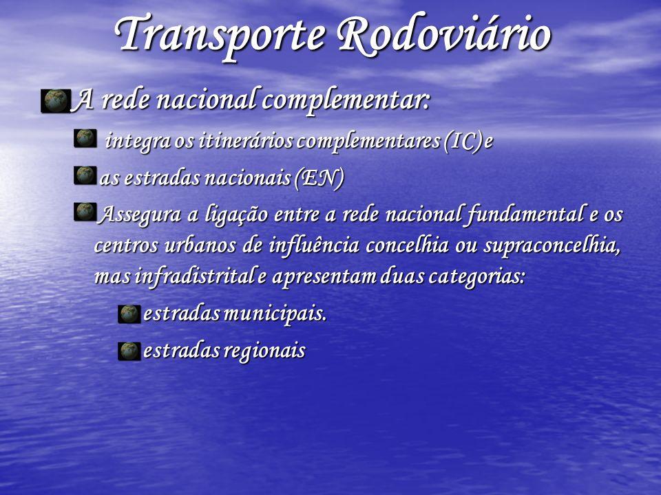 Transporte Rodoviário A rede nacional complementar: integra os itinerários complementares (IC) e integra os itinerários complementares (IC) e as estra