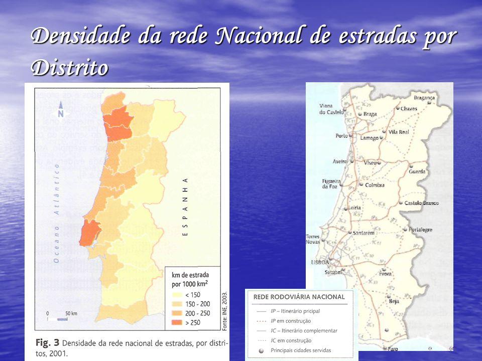 A malha rodoviária apresenta: maior densidade no corredor litoral (entre Setúbal e Viana do Castelo e em redor dos grandes centros urbanos, com especial expressão nas ligações suburbanas às áreas metropolitanas de Lisboa e do Porto.