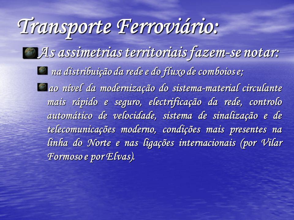As assimetrias territoriais fazem-se notar: na distribuição da rede e do fluxo de comboios e; na distribuição da rede e do fluxo de comboios e; ao nív