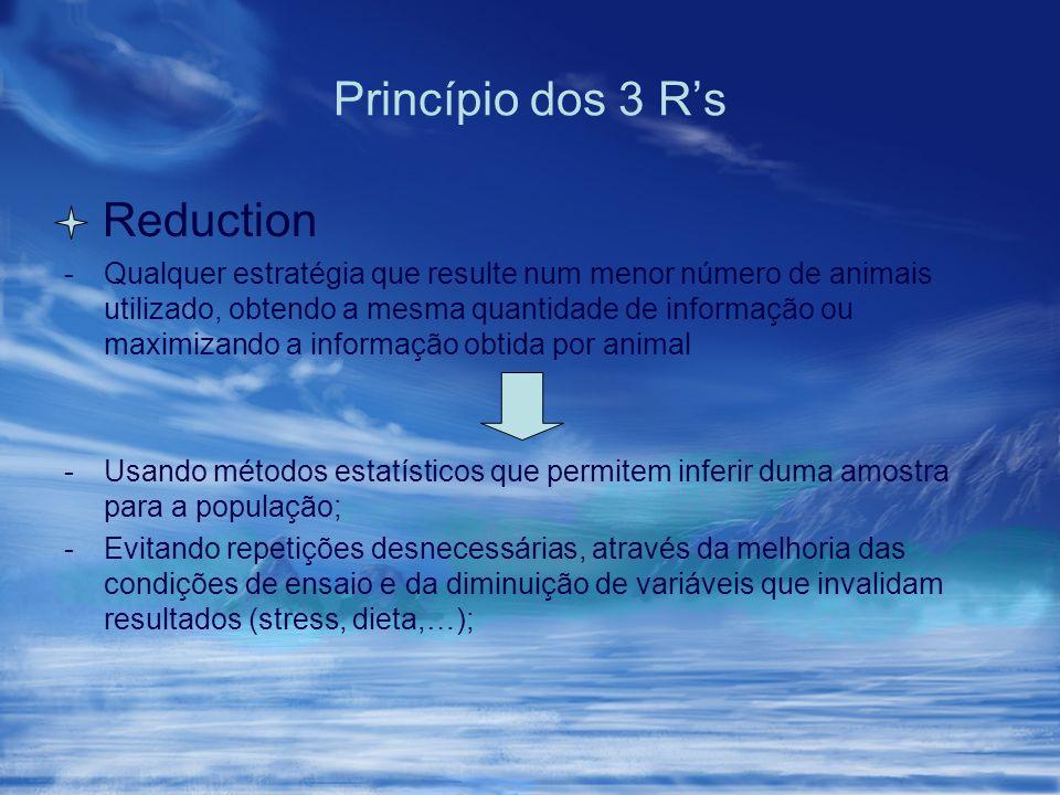 Princípio dos 3 Rs Reduction -Qualquer estratégia que resulte num menor número de animais utilizado, obtendo a mesma quantidade de informação ou maxim