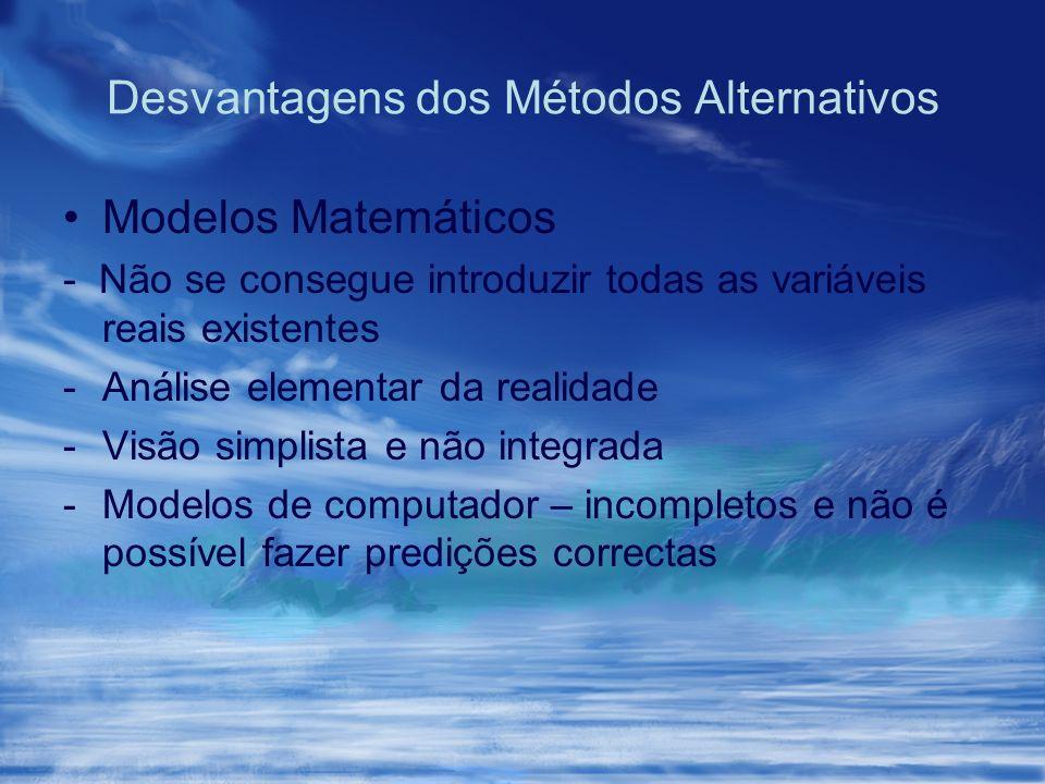 Desvantagens dos Métodos Alternativos Modelos Matemáticos - Não se consegue introduzir todas as variáveis reais existentes -Análise elementar da reali