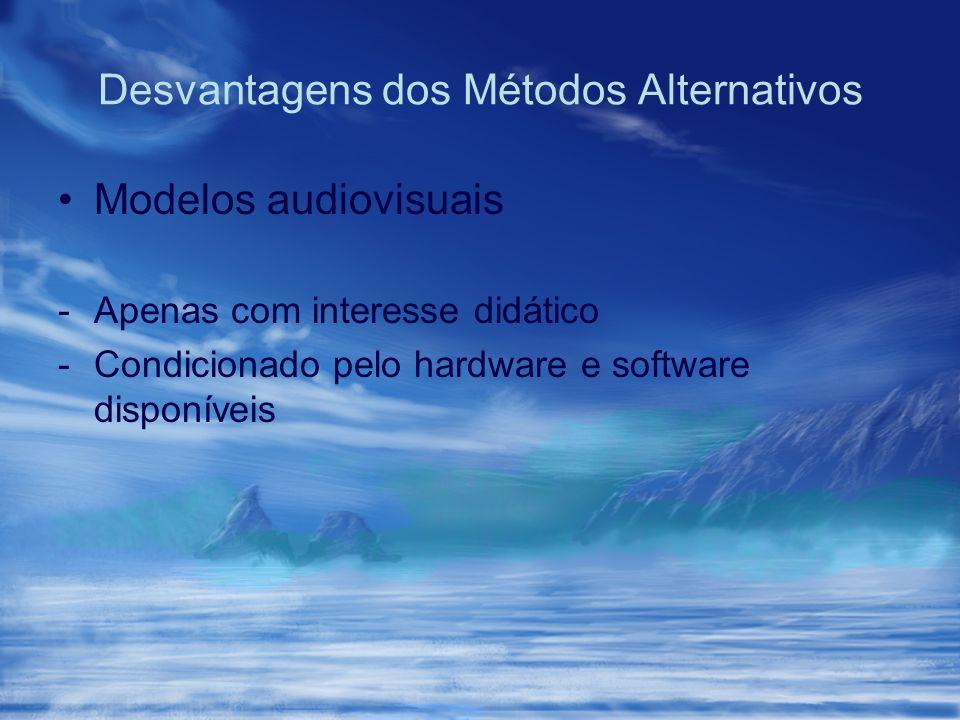 Desvantagens dos Métodos Alternativos Modelos audiovisuais -Apenas com interesse didático -Condicionado pelo hardware e software disponíveis