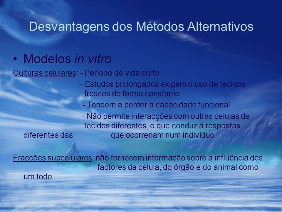 Desvantagens dos Métodos Alternativos Modelos in vitro Culturas celulares: - Período de vida curto - Estudos prolongados exigem o uso de tecidos fresc