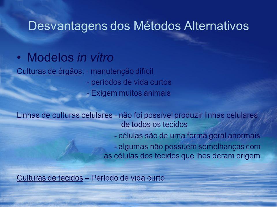 Desvantagens dos Métodos Alternativos Modelos in vitro Culturas de órgãos: - manutenção difícil - períodos de vida curtos - Exigem muitos animais Linh