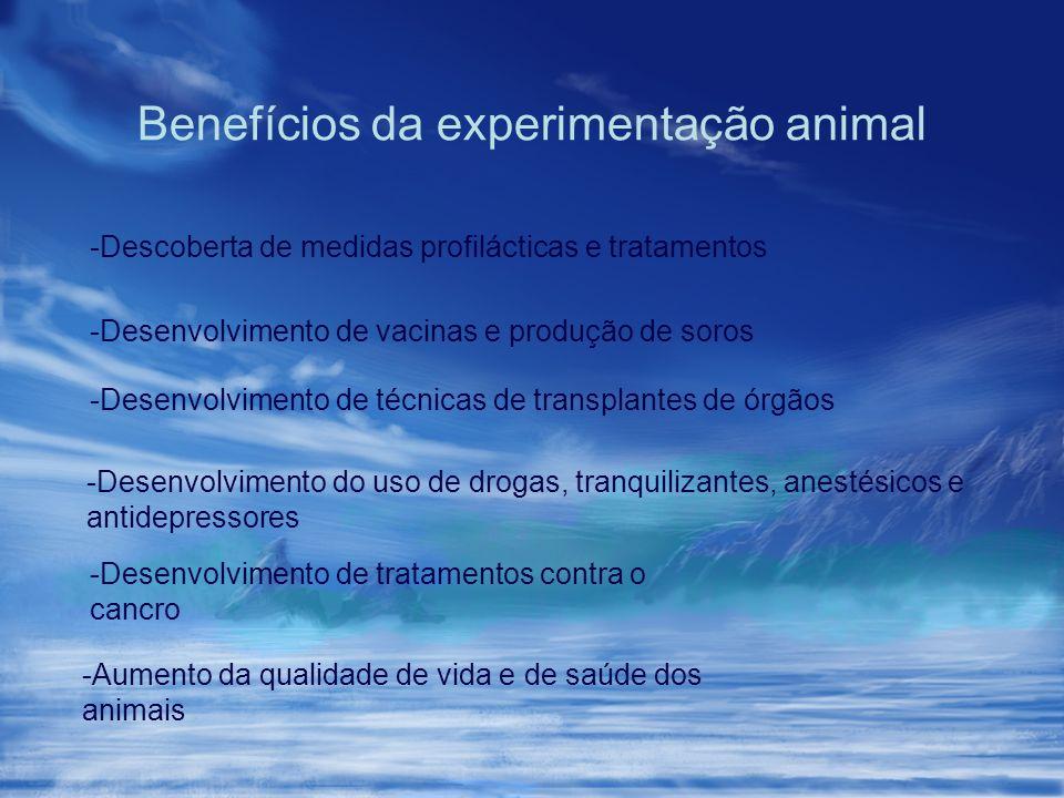 Benefícios da experimentação animal -Descoberta de medidas profilácticas e tratamentos -Desenvolvimento de vacinas e produção de soros -Desenvolviment