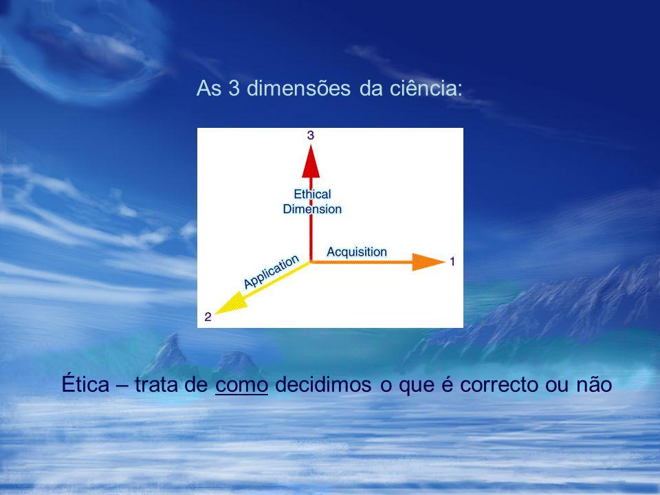 As 3 dimensões da ciência: Ética – trata de como decidimos o que é correcto ou não