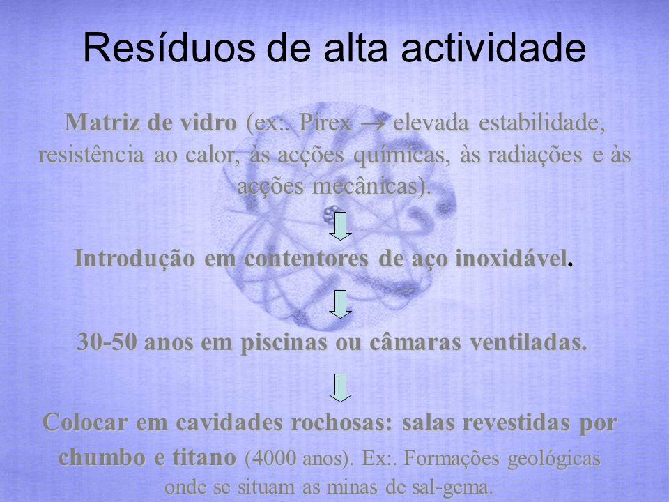 Resíduos de alta actividade Matriz de vidro (ex:. Pirex elevada estabilidade, resistência ao calor, às acções químicas, às radiações e às acções mecân