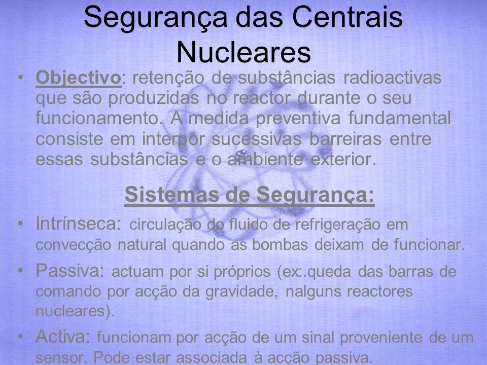 Segurança das Centrais Nucleares Objectivo: retenção de substâncias radioactivas que são produzidas no reactor durante o seu funcionamento. A medida p