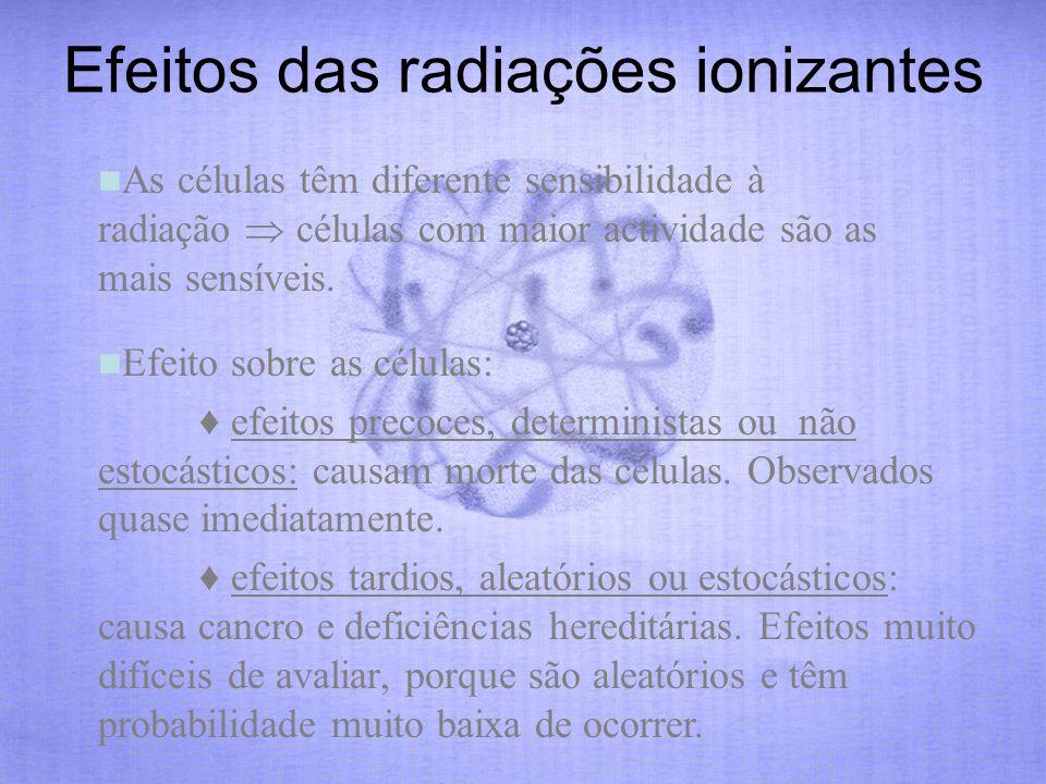 As células têm diferente sensibilidade à radiação células com maior actividade são as mais sensíveis. Efeito sobre as células: efeitos precoces, deter