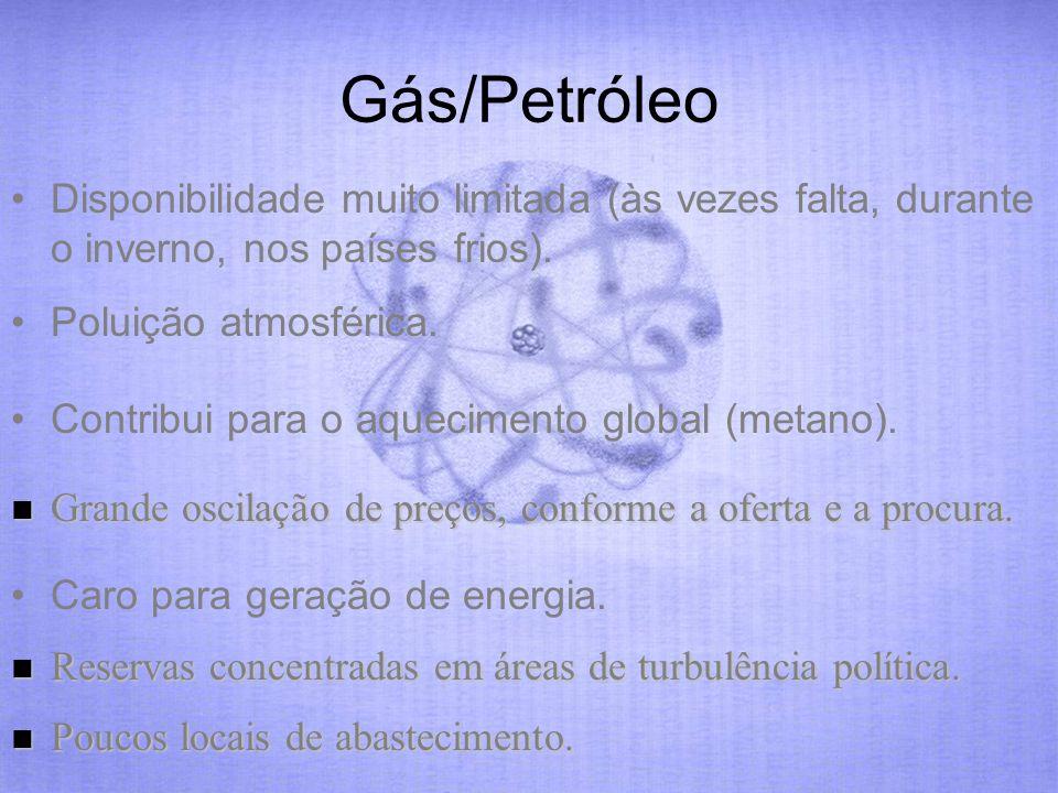 Gás/Petróleo Disponibilidade muito limitada (às vezes falta, durante o inverno, nos países frios). Poluição atmosférica. Caro para geração de energia.