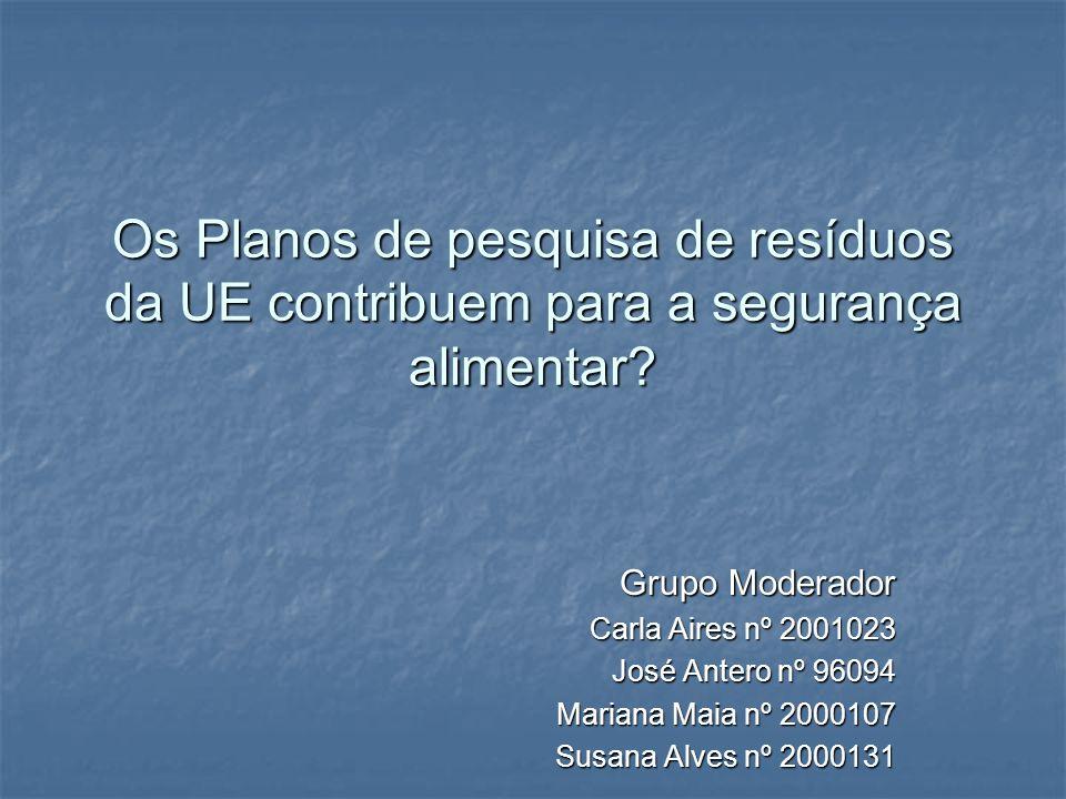 Os Planos de pesquisa de resíduos da UE contribuem para a segurança alimentar? Grupo Moderador Carla Aires nº 2001023 José Antero nº 96094 Mariana Mai