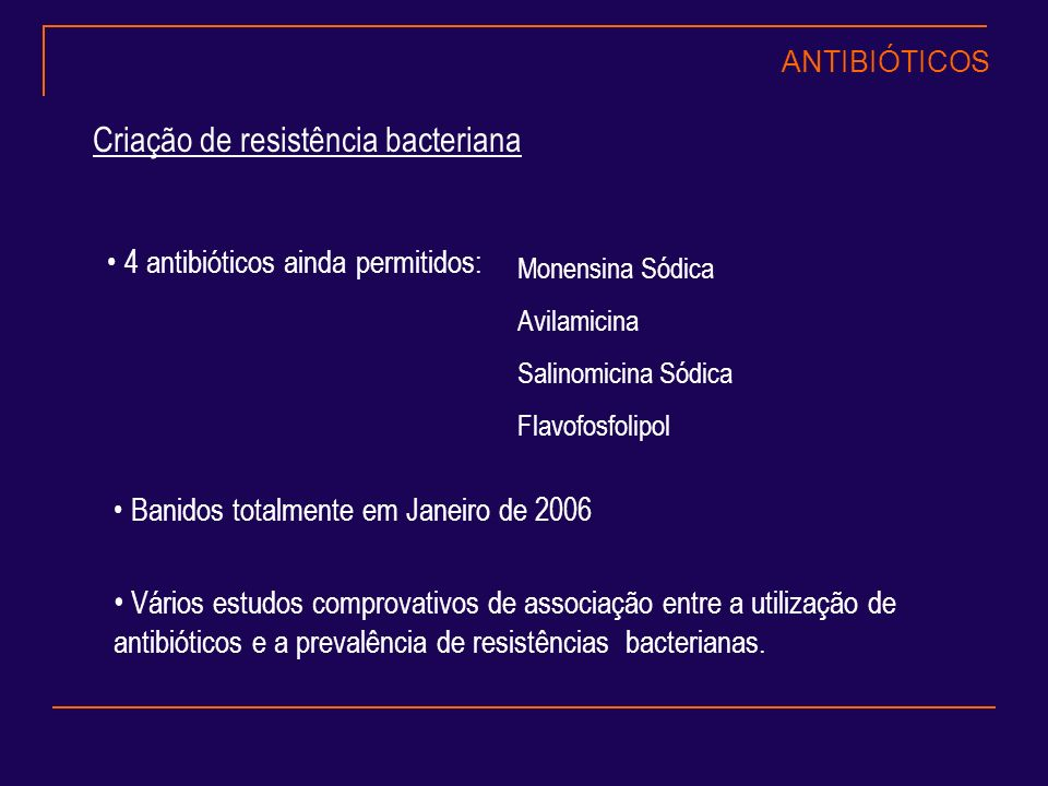 Criação de resistência bacteriana 4 antibióticos ainda permitidos: Monensina Sódica Avilamicina Salinomicina Sódica Flavofosfolipol Banidos totalmente