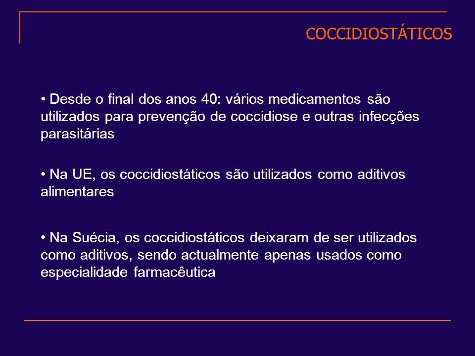 Desde o final dos anos 40: vários medicamentos são utilizados para prevenção de coccidiose e outras infecções parasitárias Na UE, os coccidiostáticos